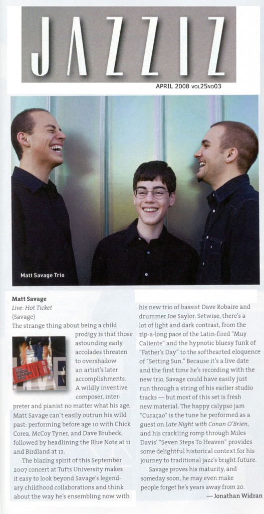 JAZZIZ article about Matt Savage