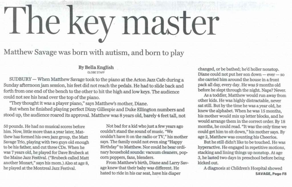 Boston Globe Newspaper article about Matt Savage