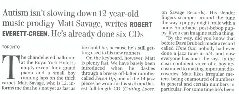 Toronto Globe and Mail article about Matt Savage