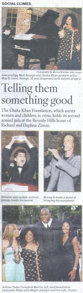 LA Times article about Matt Savage and Chaka Khan