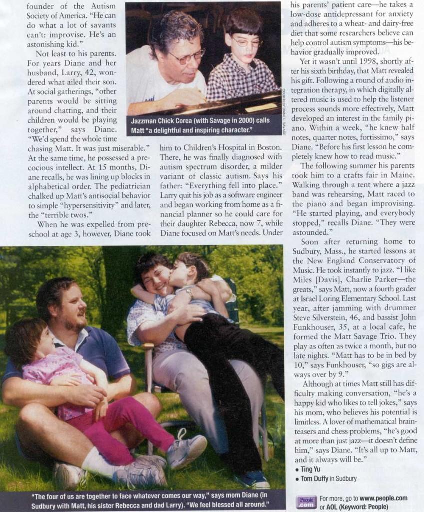 People Magazine article about Matt Savage