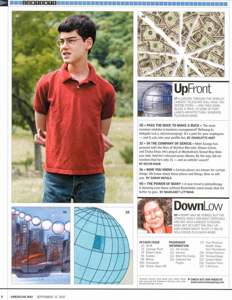 American Way Magazine article about Matt Savage 2007