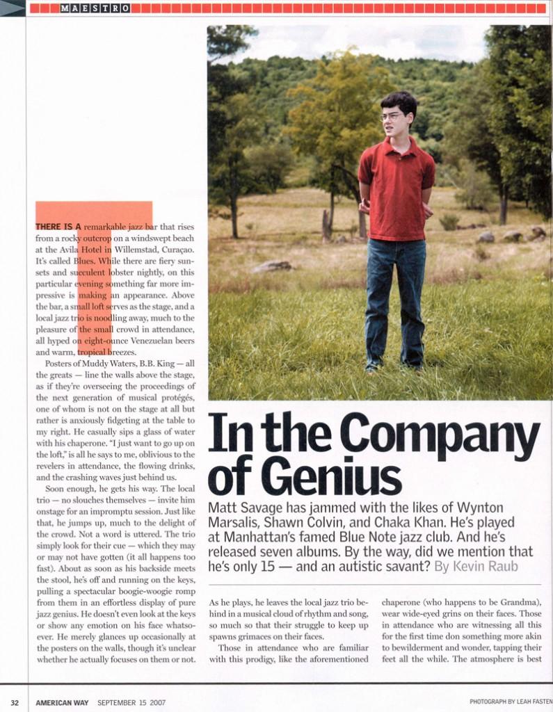 American Way article about Matt Savage 2007