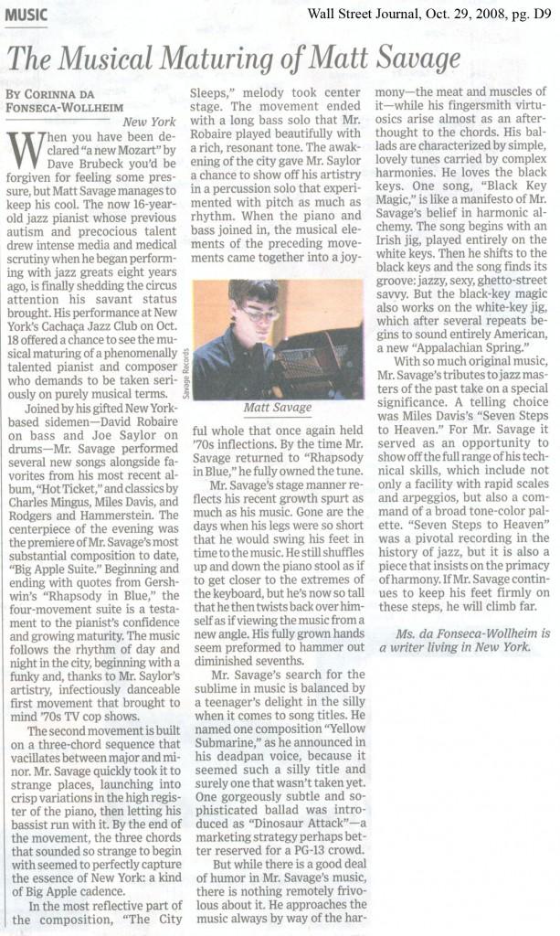 Wall Street Journal article about Matt Savage